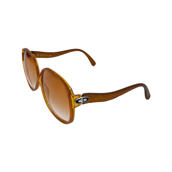 Rare 70's Oversized Christian Dior Optyl Plastic Sunglasses Eyewear Made in Germany Orange Frames Orange Gradient Lenses Designer Style 2098
