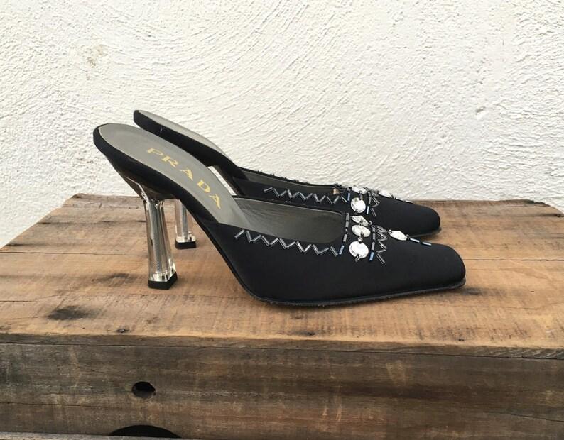 1de6b78f9c3 Prada Mules Black Satin Jeweled Lucite Clear Heel Designer