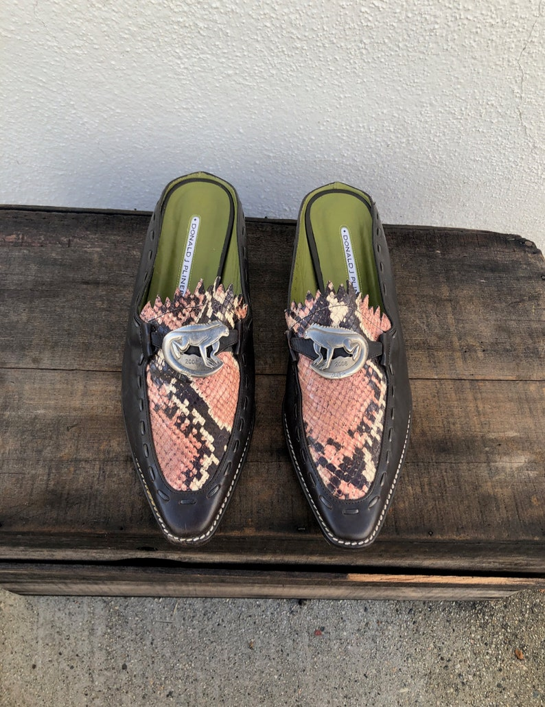 Donald J Pliner Brown Leather Pink Snakeskin Mules Slides Modern Minimal 90/'s Lizard Modernist Minimilst Trend Ladies Size 9