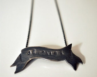 Je t'aime Banner Necklace Sterling Silver - Made to order