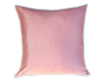 Faux Silk Pillow Cover - Blush Pillow - Rose Pillow - Pink Pillow - Light Pink Pillow - Decorative Pillow - Designer Pillow - Solid Pink