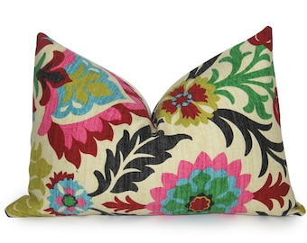 Botanical Damask Decorative Pillow Cover - 12x18 inch - Hot Pink - Red - Turquoise - Gold - Ivory - Lumbar - Designer Pillow - Linen