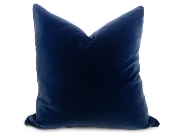 Cotton Velvet Pillow Cover   Midnight Navy   Navy   18 Inch   Both Sides   Navy Pillow   Velvet Pillow   Navy Blue Pillow   Decorative Pillo by Etsy