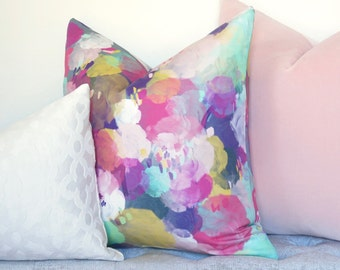 Watercolor Bursts Decorative Pillow Cover - Blush - Pink - Yellow - Green - Designer Pillow - Linen Pillow - Floral Pillow - Watercolor