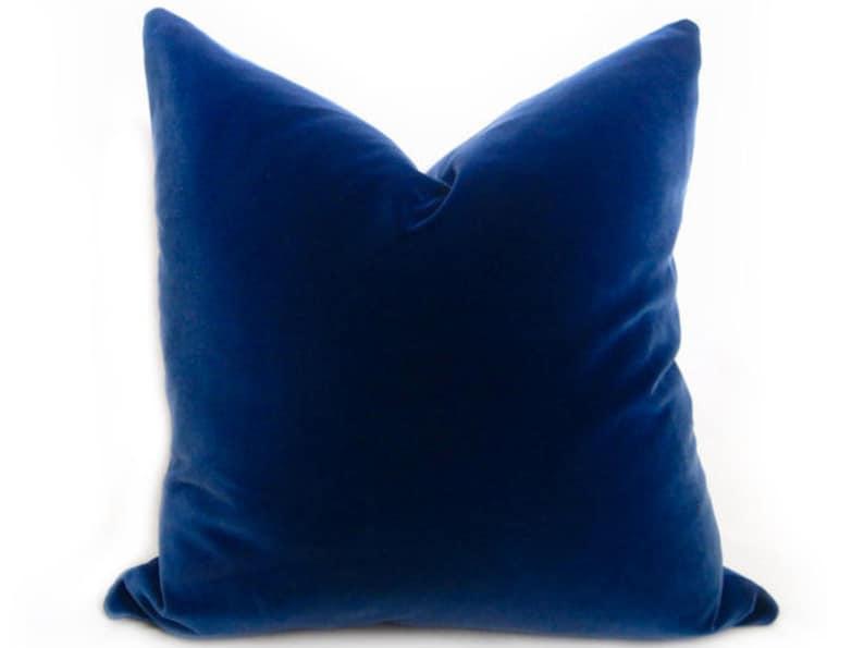 Belgium Blue Velvet Pillow Cover  Blue  MORE SIZES  Royal image 0
