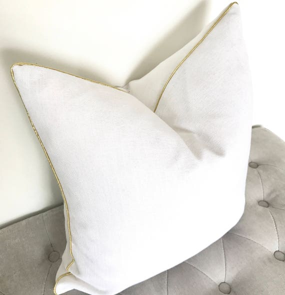 Linen Pillow Cover with Gold Piping