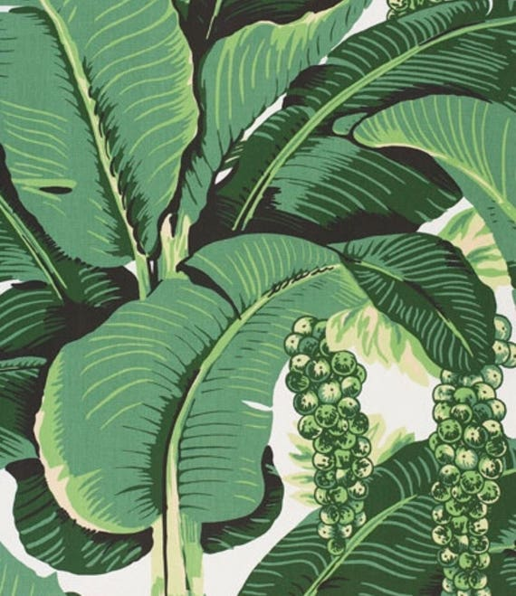 Brazilliance Fabric Dorothy Draper Banana Leaf Fabric Free Ship Palm Leaf Fabric Beverly Hills Hotel Palm Print
