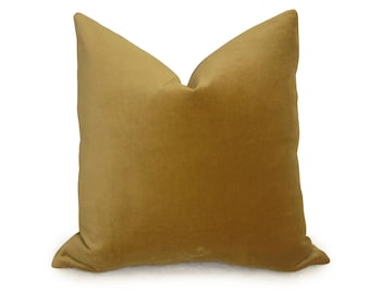 Gold Velvet Pillow Cover - Velvet Pillow - Decorative Pillow - Designer Pillow - Gold Pillow - Gold Pillow Cover - Throw Pillow