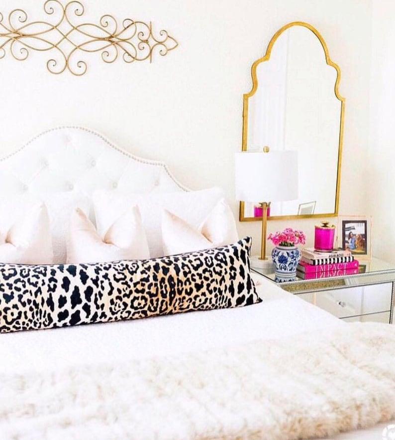 Gold Gold Pillow Leopard Velvet Pillow Cover Designer Pillow Leopard Pillow Decorative Pillow Velvet Pillow Long Bed