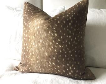 Deer Pillow Cover - Deer Print Pillow - Antelope Pillow - Tan Pillow - Fawn Print Pillow - Decorative Pillow - Designer Pillow - Throw