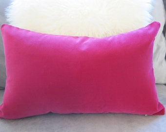 Belgium Cotton Velvet Pillow Cover - Magenta - Lumbar - Fuchsia Pillow - Pink Pillow - Velvet Pillow - Decorative Pillow