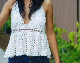 Crochet top pattern, dolly ruffle top, peplum top, baby doll top,pdf