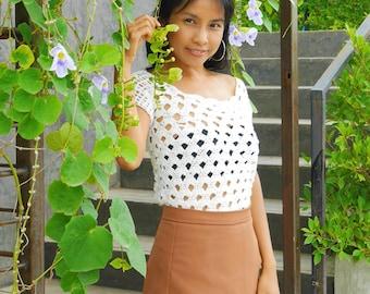 Crochet summer blouse top down pattern pdf, with video tutorial happy monday arcade  top, pdf, crochet tank top, crochet short sleeve top
