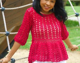 Crochet top pattern, easy breezy ruffle top with video tutorial, peplum top, lace top,pdf,DIY,long sleeve top, 3/4 sleeve top