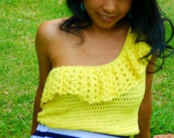 Crochet one shoulder top, crochet ruffle top, easy crochet top, crochet lace top, crochet blouse, crochet top for women,pdf