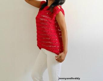 Crochet peak a boo cold shoulder summer top pdf pattern with video tutorial, crochet lace top, crochet tank top, crochet blouse,DIY,pdf