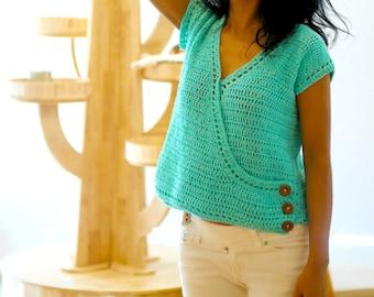 Cute crochet criss cross wrap top easy pdf pattern with video tutorial, crochet blouse, crop top, easy crochet top pattern,beginner top,pdf