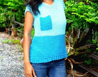 Crochet top tee pattern ,everyday top tee with video tutorial, crochet tank top,pdf, color block top