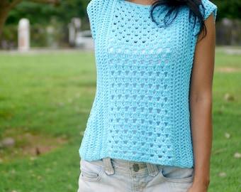 Crochet tank top pattern ,modern summer top tee crochet top, easy crochet pattern, sleeveless top, crochet tee shirt, pdf