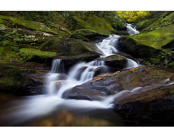 Roaring Fork Falls, Waterfall Nature Photography, Fine Art Photo Print, Linville Gorge, Spring, Foliage, Green, Cascade, Boone, Zen, WNC