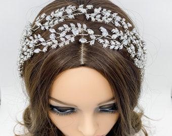 Double Rhinestone Crystal Bridal Headband Bridal Crystal Headpiece Rhinestone Bridal Headpiece Bridal Crystal Headband