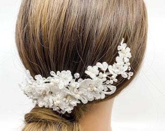 Lace Bridal Headpiece Ivory Lace Bridal Headpiece Pearl Bridal Headpiece Silver Bridal Headpiece Vintage Bridal Headpiece Bridal Comb