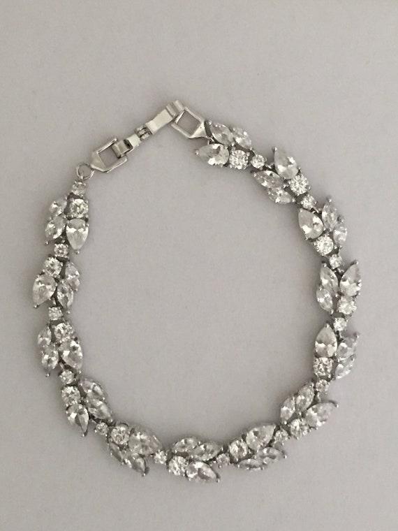 460d53e404 Vintage Braut Armband Strass Braut Armband Blatt Braut Armband Silber Braut  Armband Kristall Braut Armband Braut Schmuck