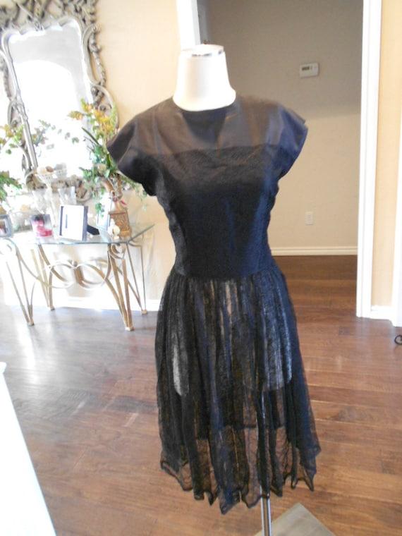 1940s Lace Illusion Dress Black Lace Cocktail Dress 1940s Etsy