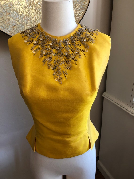 50s 1950s gold beaded top size 6