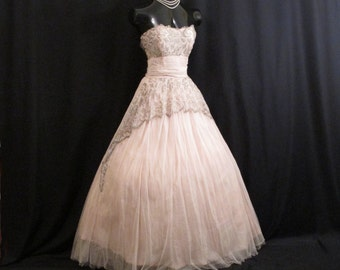 Vintage 1940's 40s 1950's 50s Bombshell PINK Tulle Olive Metallic Embroidered Lace  Party Prom Wedding DRESS Gown