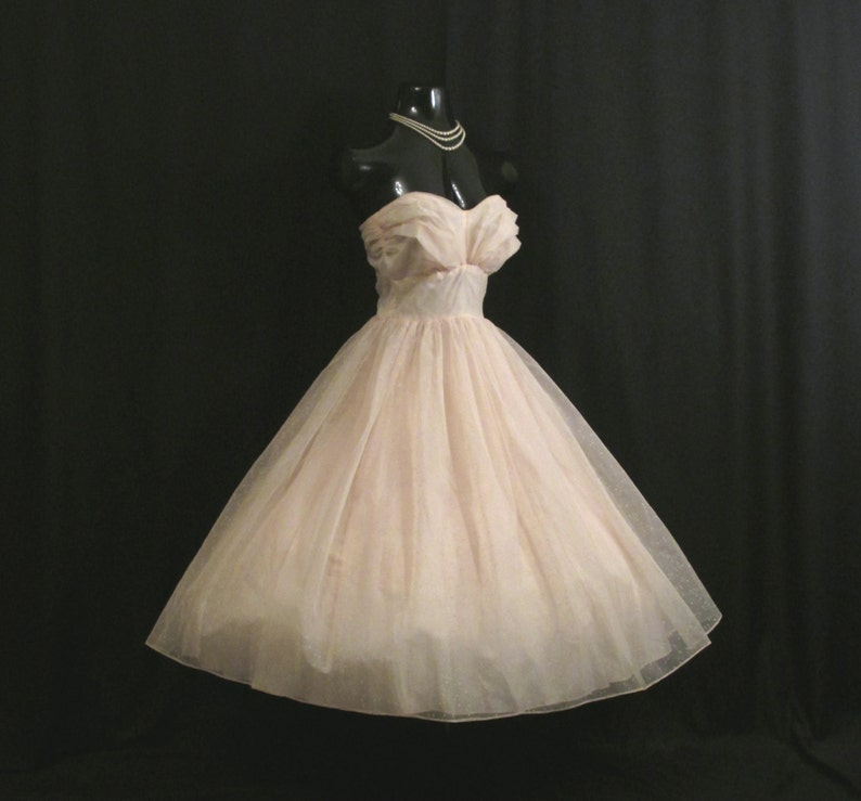 Vintage 1950's 50s STRAPLESS Baby Pink Ivory Flocked