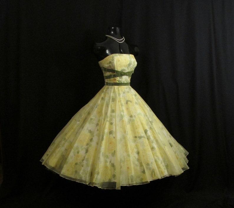 9b814e88303 Vintage 1950 s 50s Strapless Lemon Yellow Floral Roses