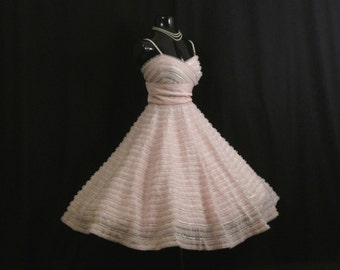 Vintage 1950's 50s Bombshell RAPPI Baby Pink Sequins Tulle Taffeta Circle Skirt Party Prom Wedding Dress Gown
