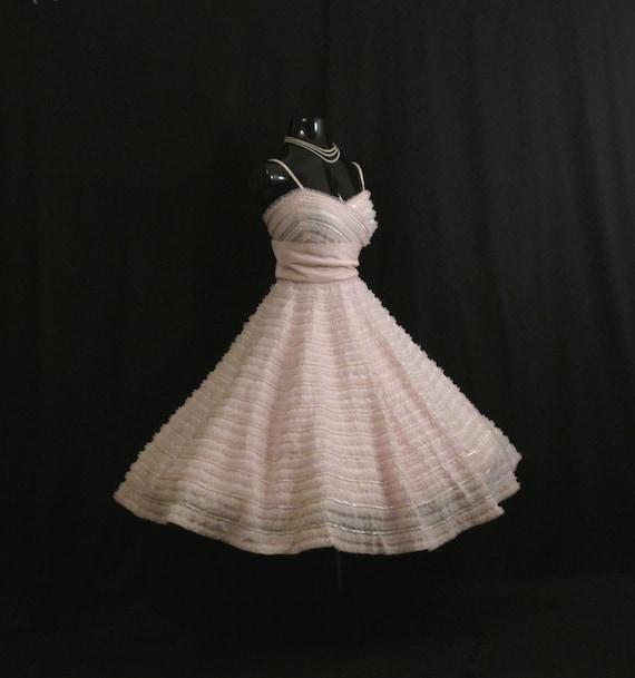 Vintage 1950's 50s Bombshell RAPPI Baby Pink Sequi