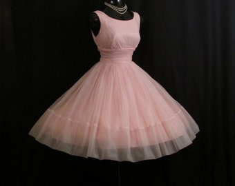 Vintage 1950's 50s Bombshell PINK Ruched Chiffon Organza Party Prom Wedding Dress Gown