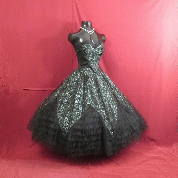 Vintage 1950's 50s Strapless Black Emerald Green G