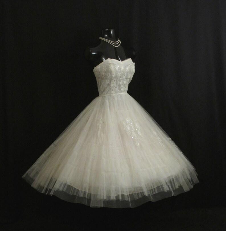 Vintage 1950's 50s STRAPLESS Bombshell White Tulle Silver