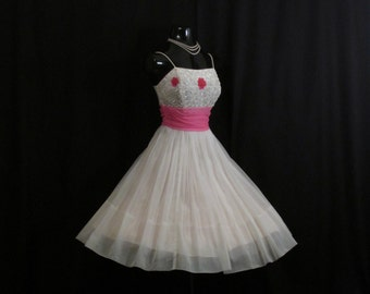 Vintage 1950's 50s White Hot Pink Ruched Chiffon Beaded Sequins Flowers Circle Skirt Party Prom Wedding Dress Gown