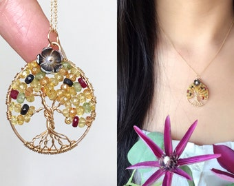 Sapphire Oval Tree of Life Necklace-14k Gold Filled-Wire Wrapped Jewelry