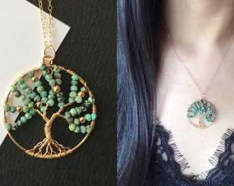Turquoise Tree of Life Necklace-14k Gold Filled-Wire Wrapped Jewelry