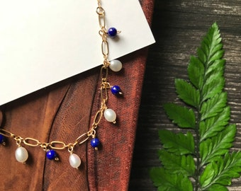 Pearl Lapis Necklace-14K Gold Filled Chain-Modern Jewelry