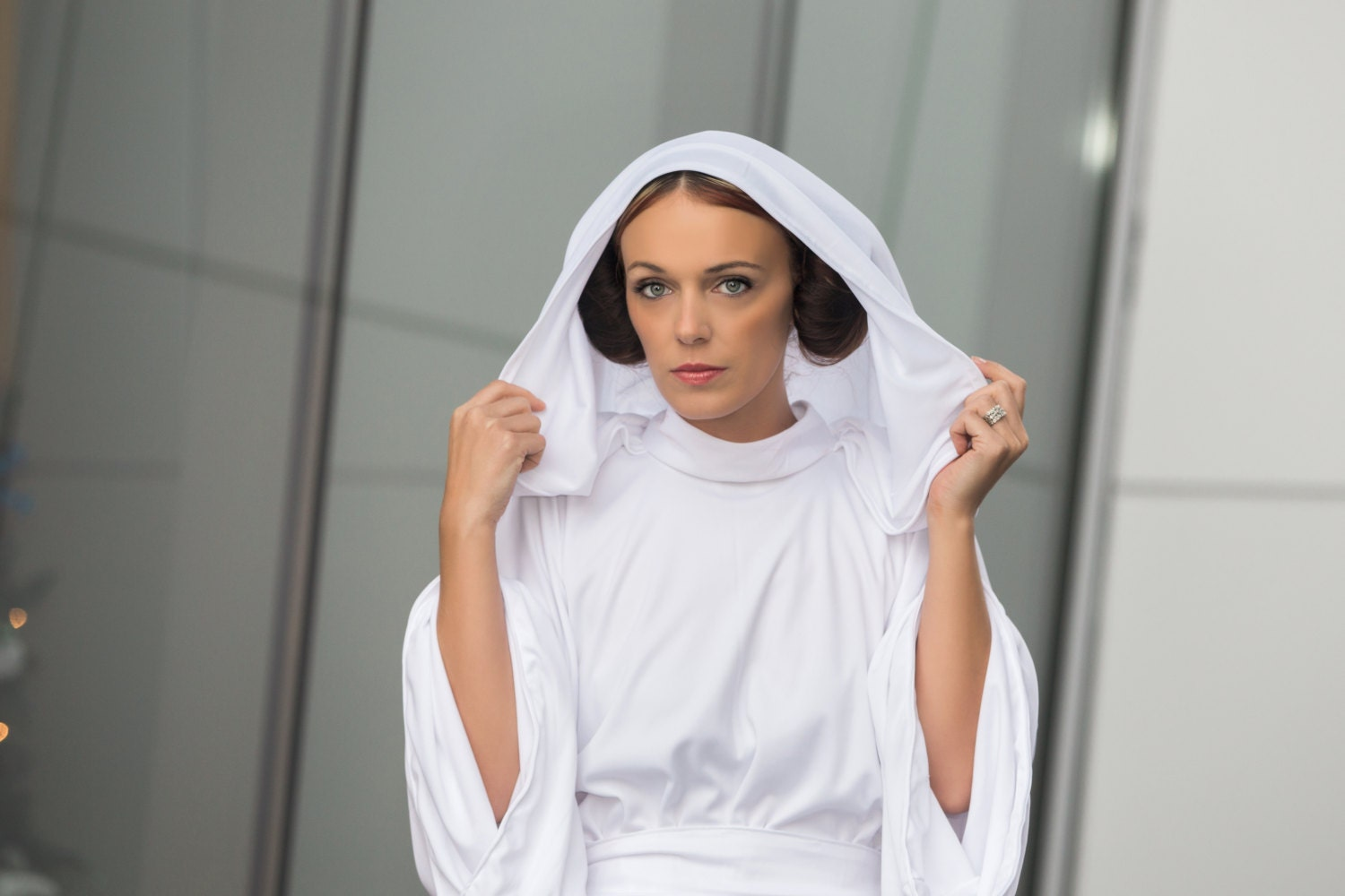 Star Wars Princess Leia Cosplay White Gown Costume