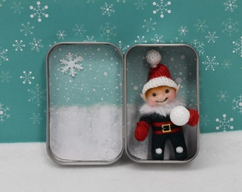"Pocket Christmas Elf Boy ""Rusty"" In Hinged Gingerbread House Box -  Handmade - One Of A Kind"