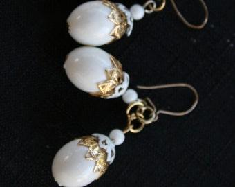 Vintage White Tear-Drop Earrings