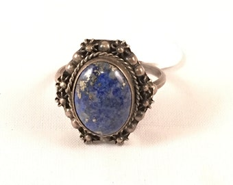 Vintage Lapis and Silver Ring - Size 6