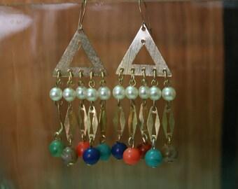 80's Multi Color Unique Chandelier Earrings
