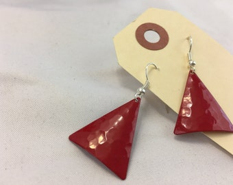 Vintage Red Triangle Earrings