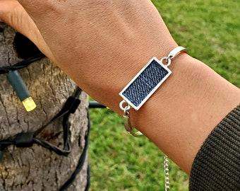 Rectangle plate denim Bracelet- jeans silver