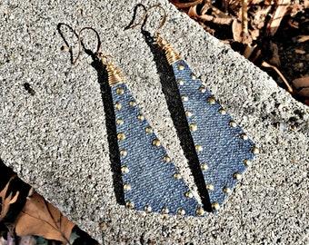 Denim Earrings- Scalene Studded