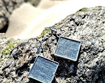 Denim Earrings- Antiqued Diamond Square Jean